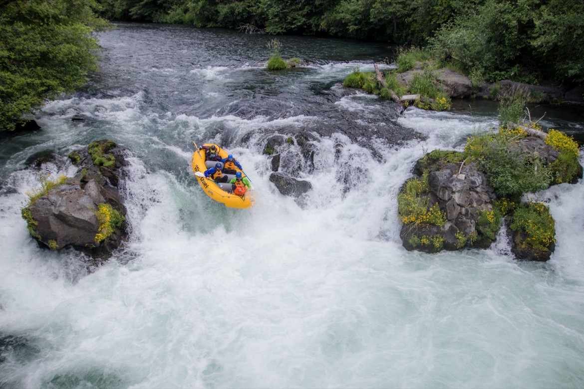 Rafting over Husum Falls on the White Salmon River near Trout Lake WA