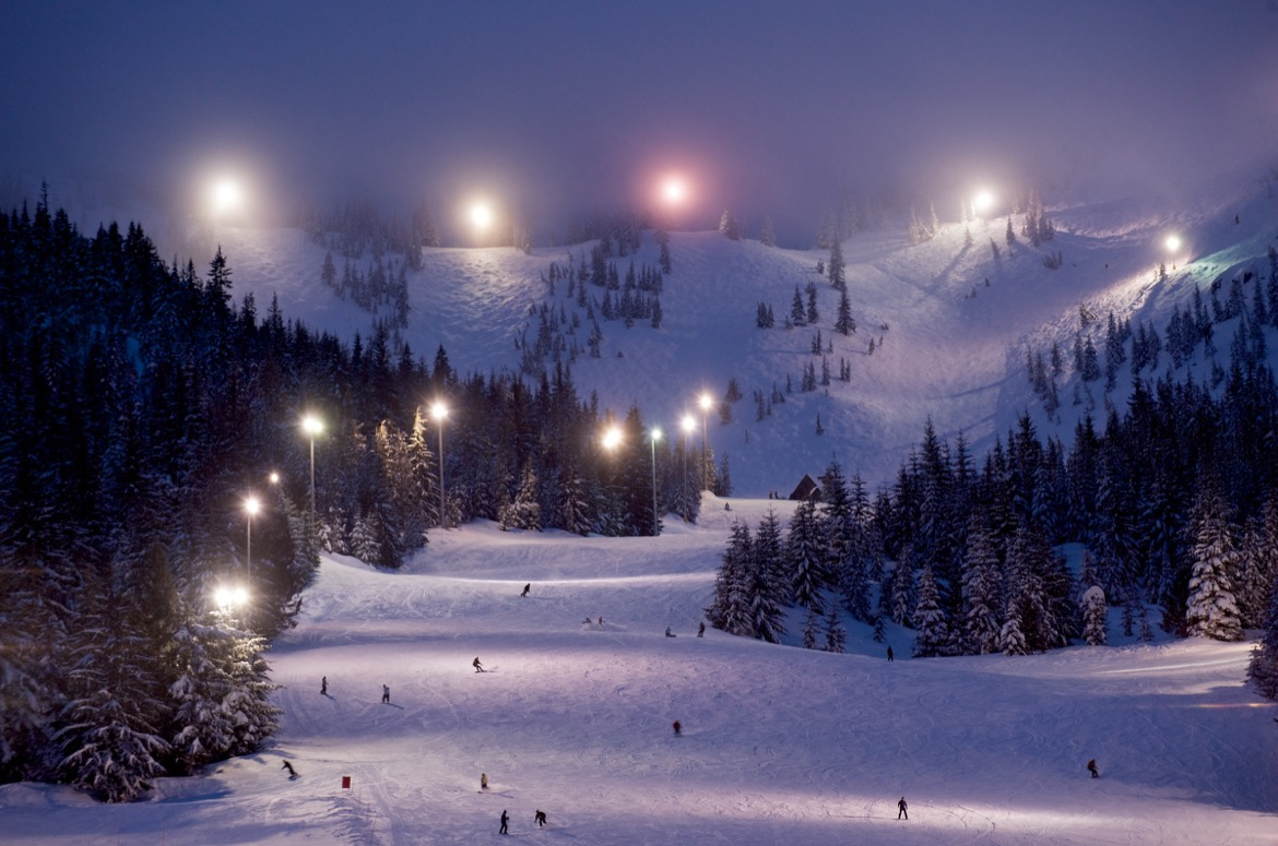 Night skiing at Mt Hood Skibowl.
