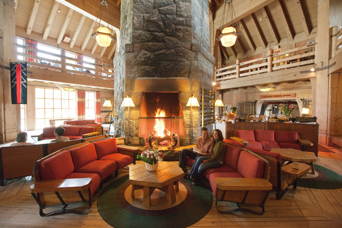 Inside Timberline Lodge.