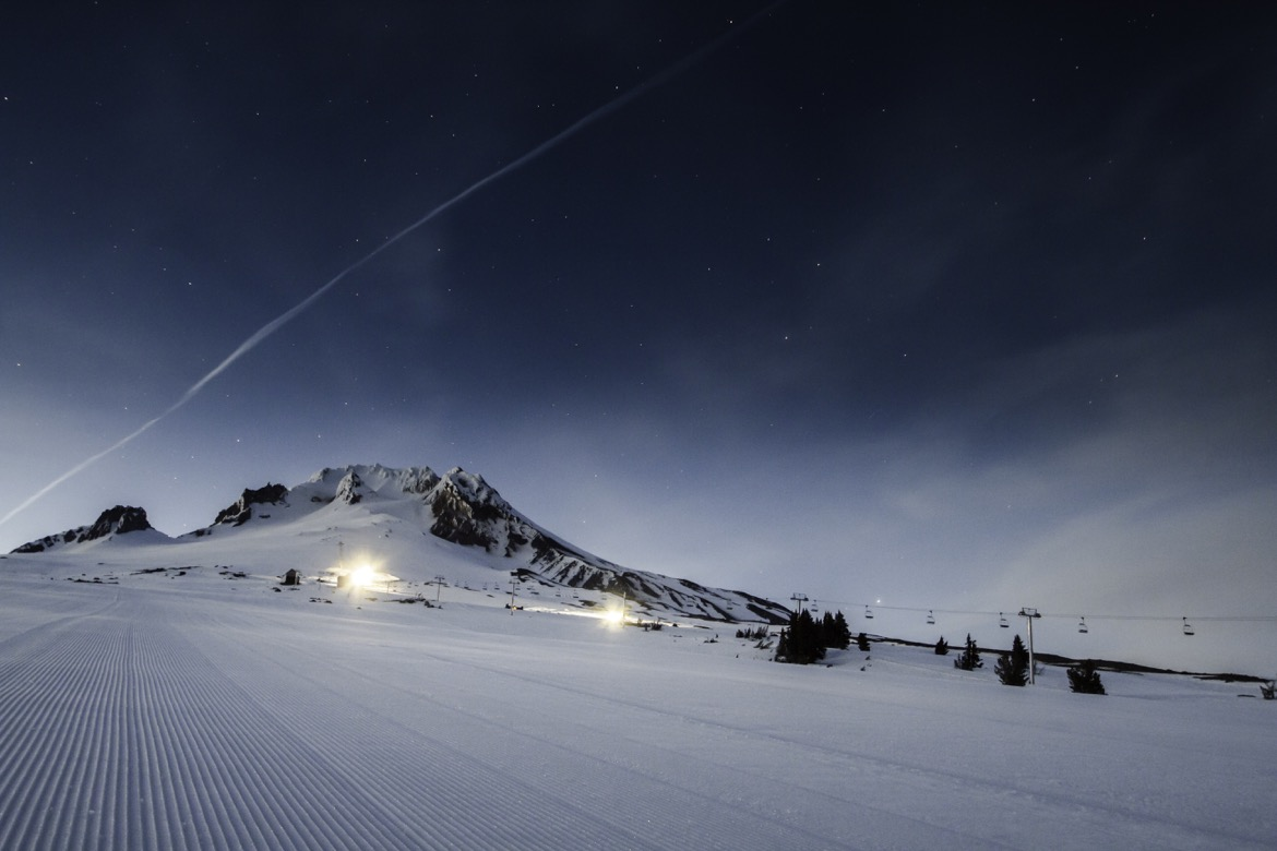 Timberline ski area at night