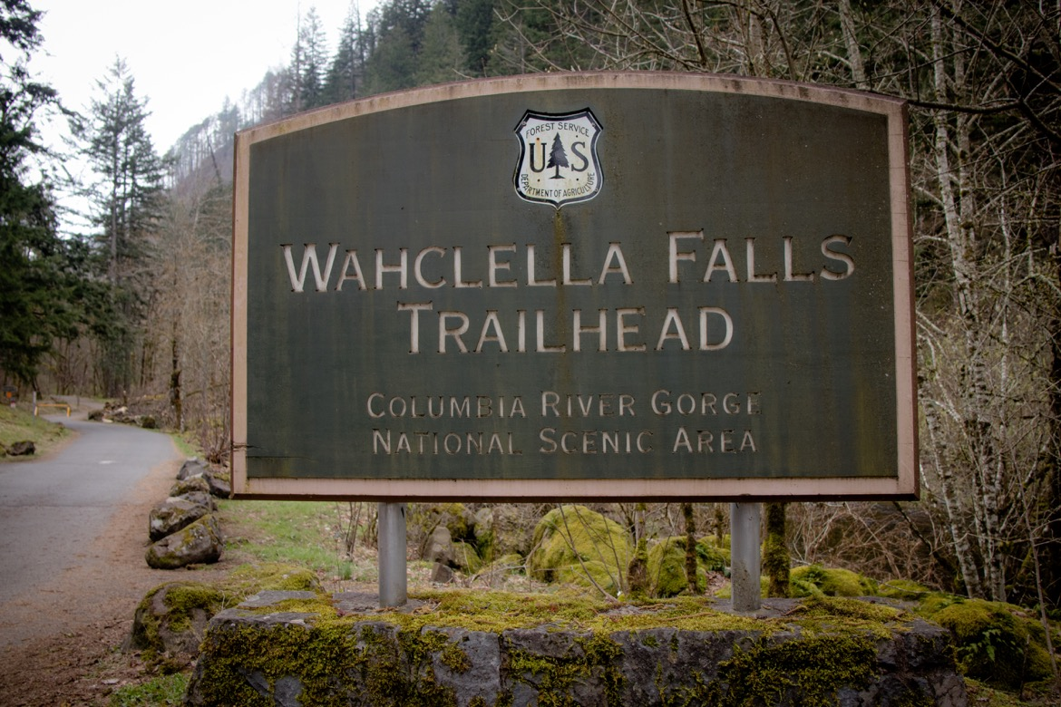 Wahclella Falls trailhead in the Columbia River Gorge, Oregon
