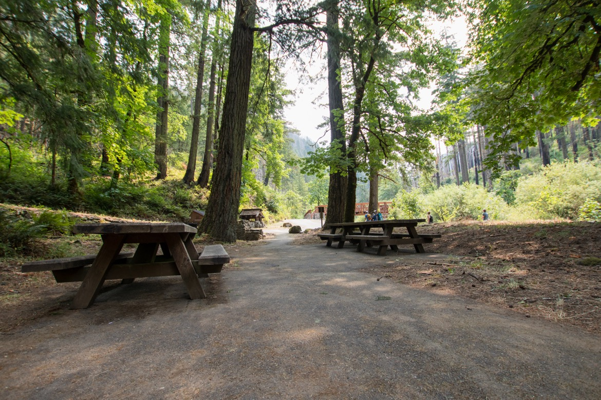 The picnic area at the beginning of the Eagle Creek Trail